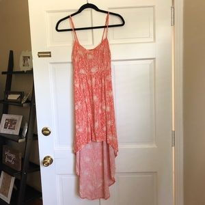Patterned muted orange high low dress
